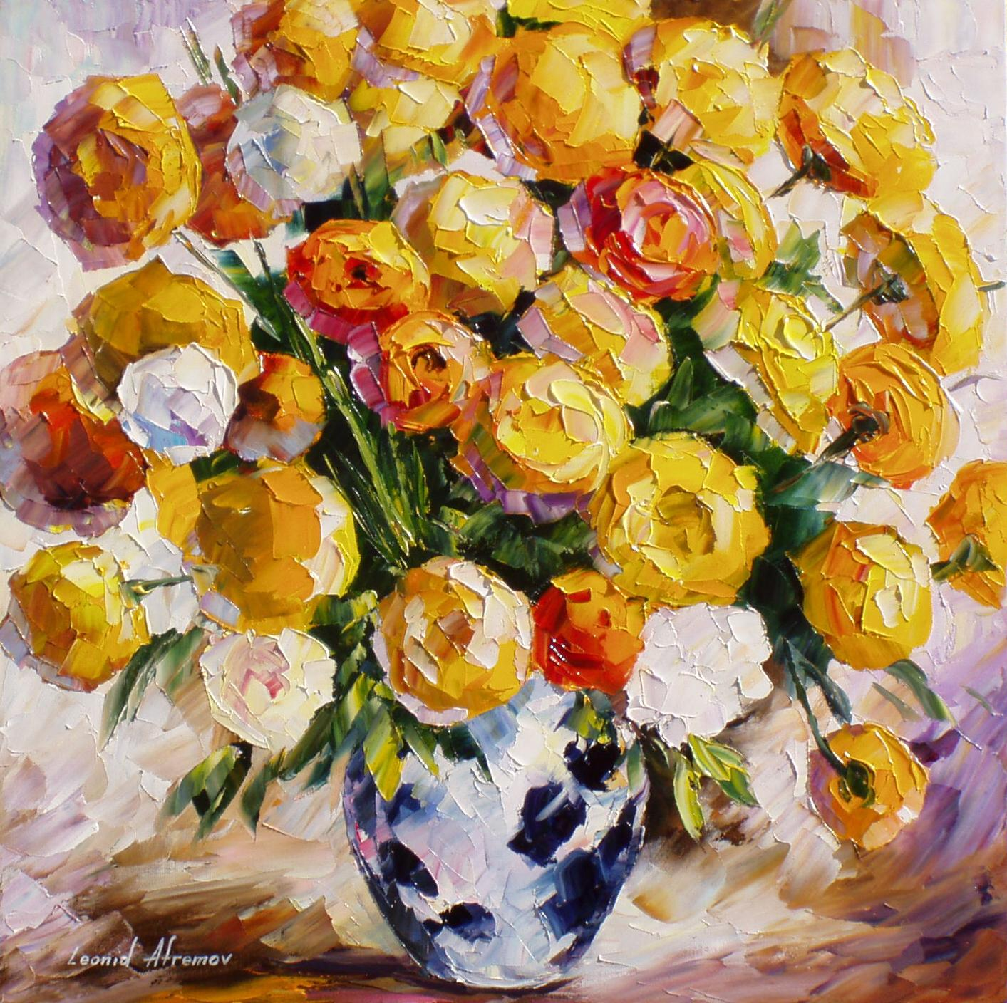 GOLD-BOUQUET— PALETTE KNIFE Oil Painting On Canvas By Leonid Afremov ...