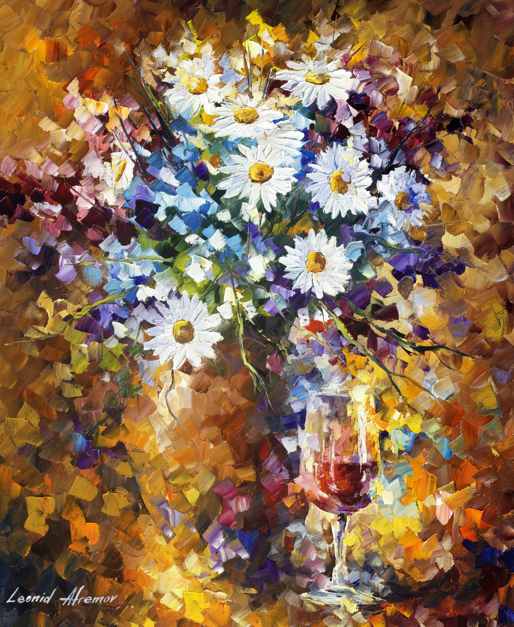 White Flowers Palette Knife Oil Painting On Canvas By Leonid