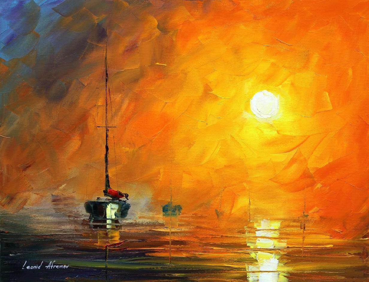 yellow fog 1 original oil painting on canvas by leonid afremov