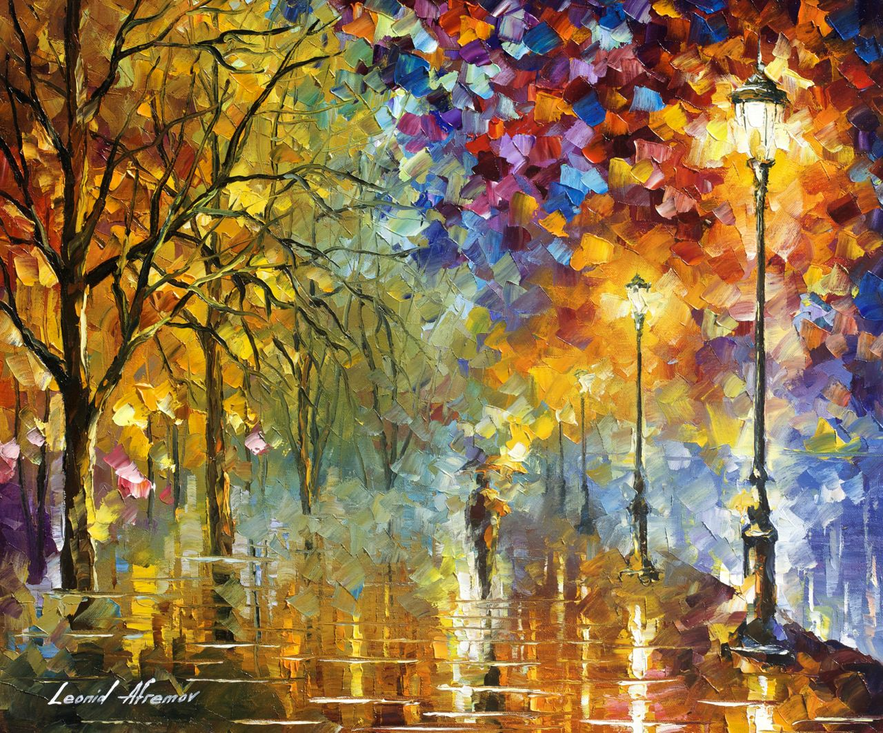 "LIGHTS OF TRUST - Original Oil Painting On Canvas By Leonid Afremov - 24""X20"""