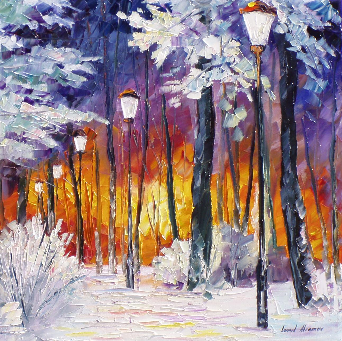 97473777789 WINTER FIRE— PALETTE KNIFE Oil Painting On Canvas By Leonid Afremov ...