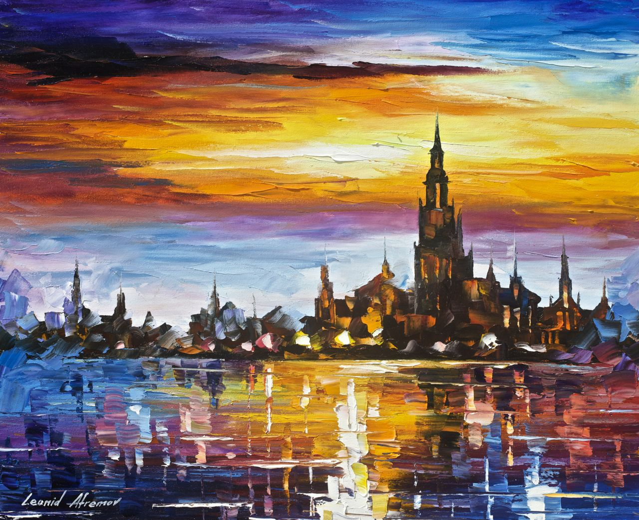 "OLD PORT TOWER - Palette Knife Oil Painting - Wall Art Canvas By Leonid Afremov - 24""X20"""