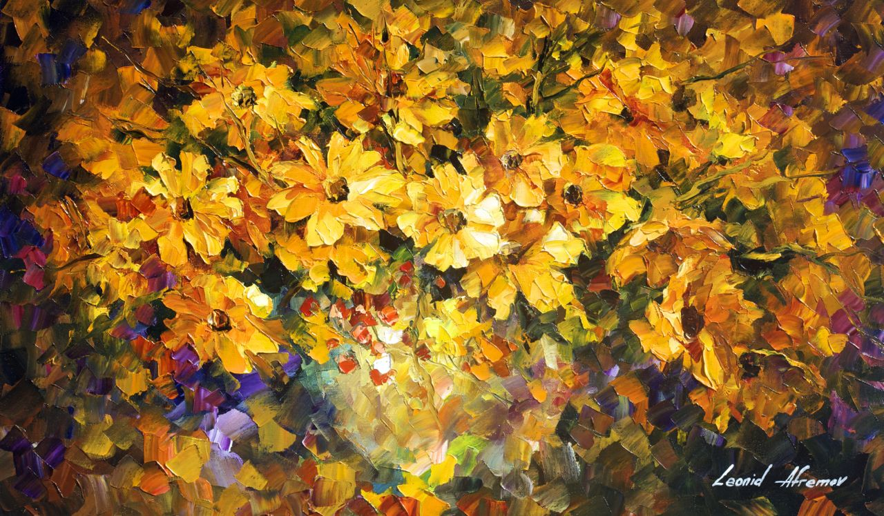"YELLOW BOUQUET - Original Oil Painting On Canvas By Leonid Afremov - 25""x15"""