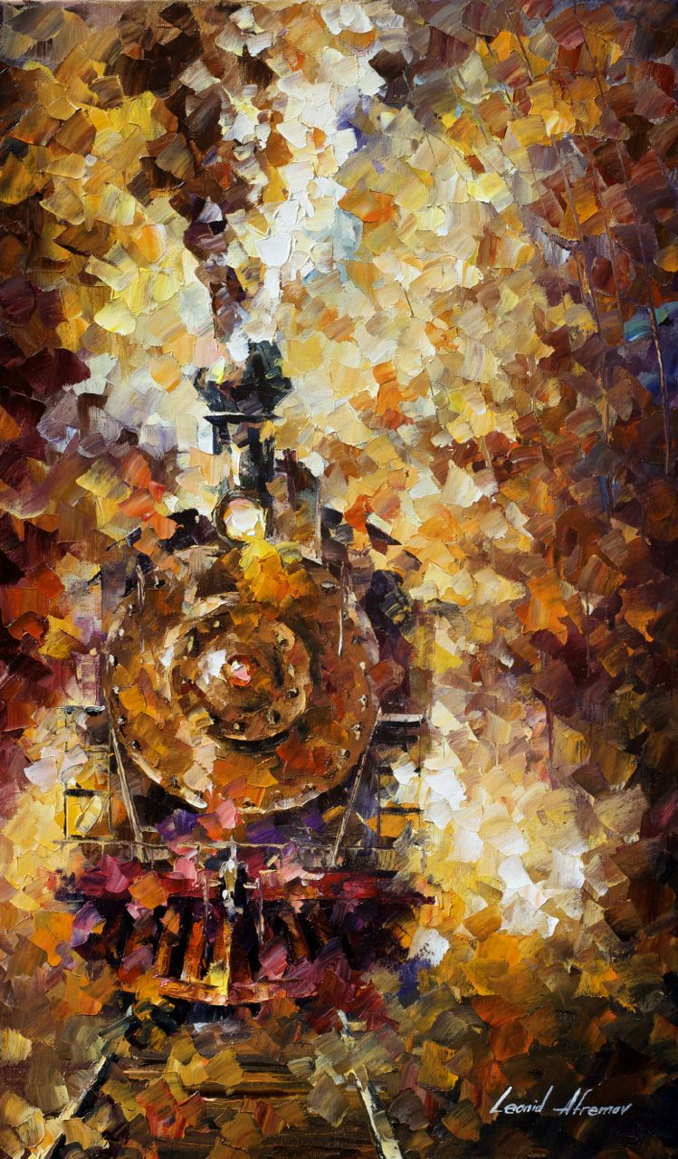 "TRAIN OF HAPPINESS - Original Oil Painting On Canvas By Leonid Afremov - 15""x25"""