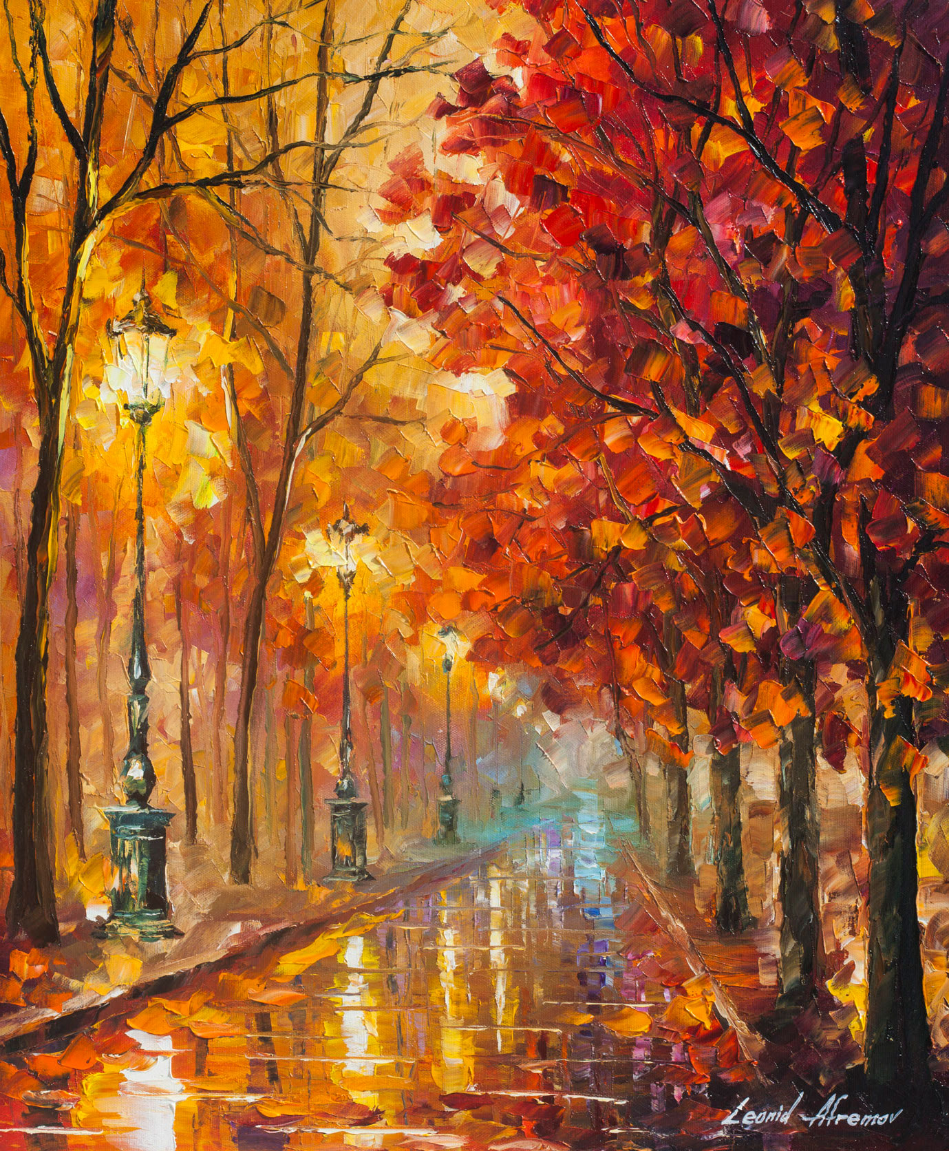 "SWEET FALL - Original Oil Painting On Canvas By Leonid Afremov - 20""X24"" (50CM X 60CM)"