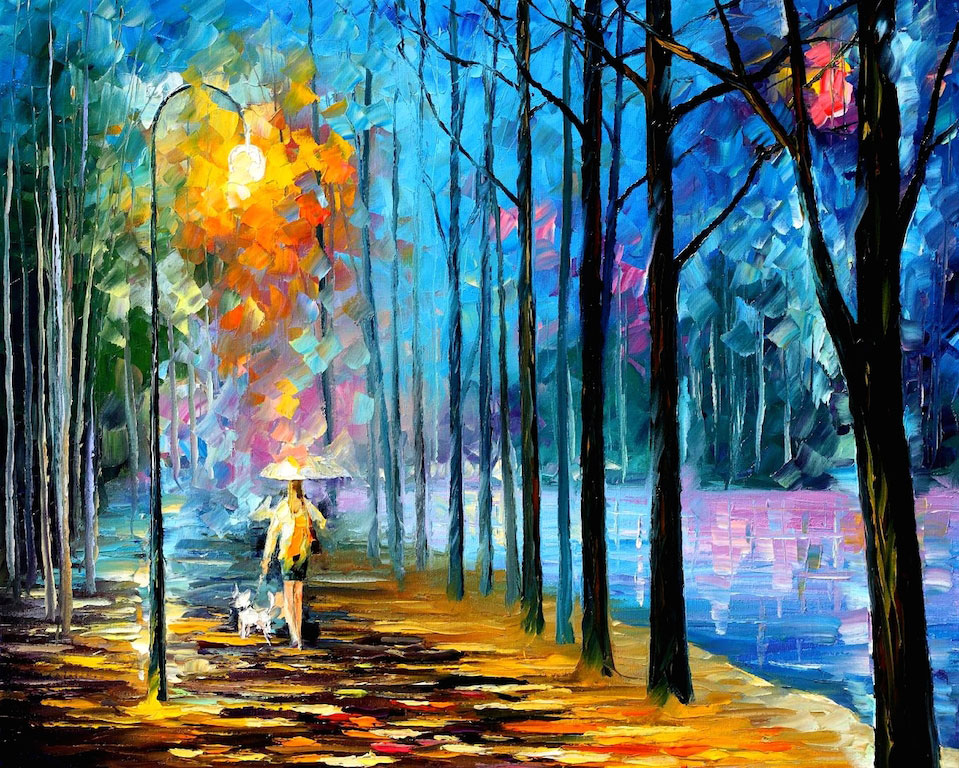 "WALKING MY DOG - Original Oil Painting On Canvas By Leonid Afremov - 24""X30"""