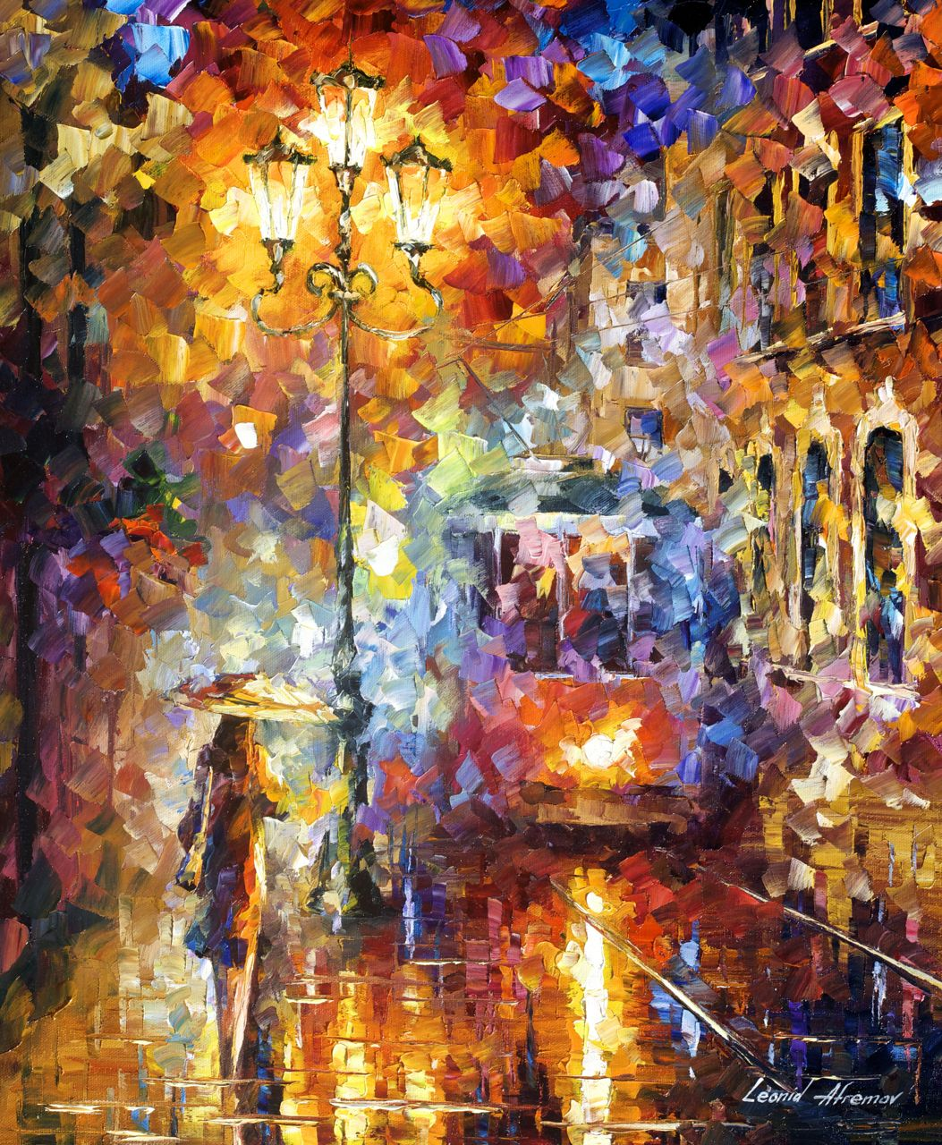 "TROLLEY OF THE NEW YEAR - Original Oil Painting On Canvas By Leonid Afremov - 20""x24"" (50cm x 60cm)"