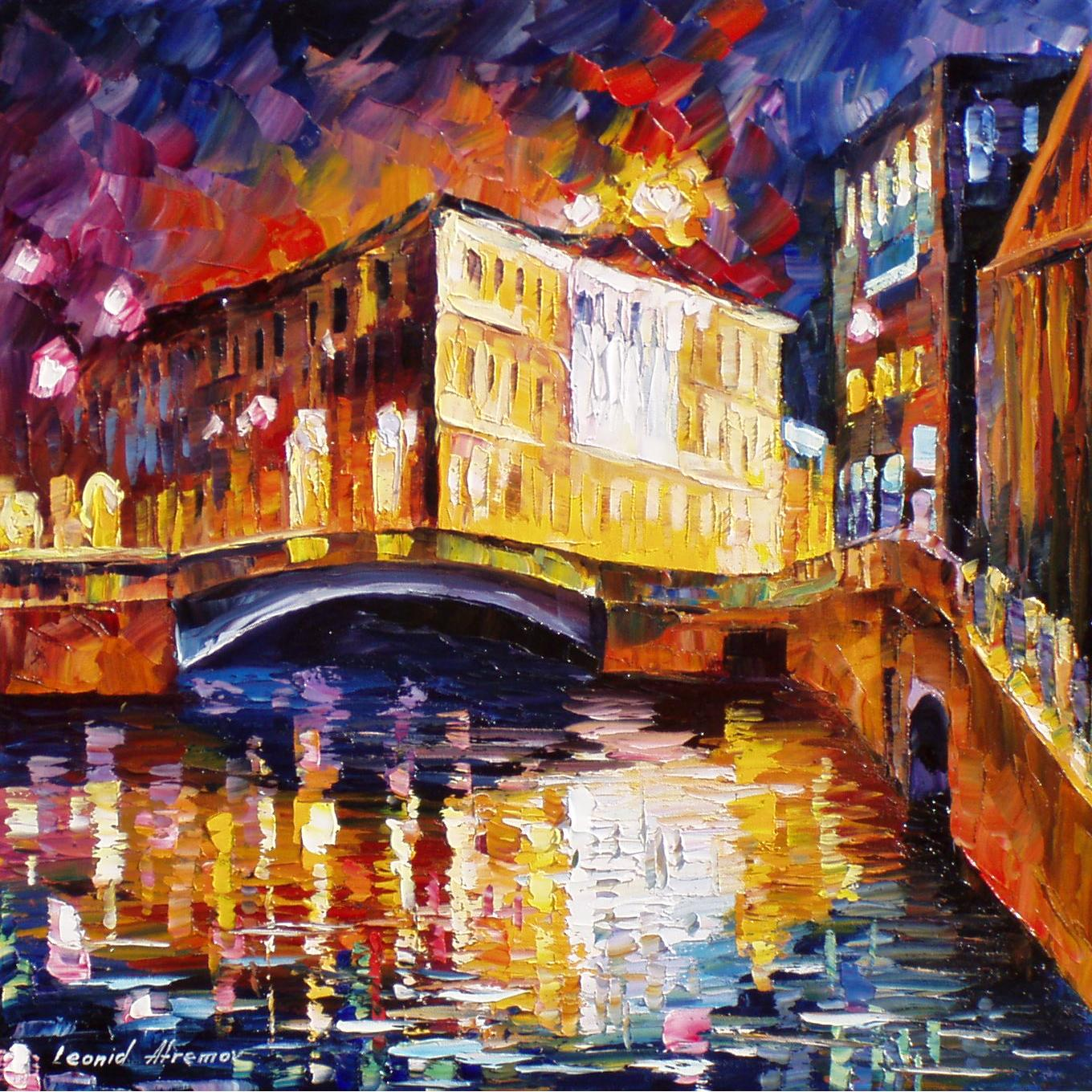 depth purple palette knife oil painting on canvas by leonid afremov
