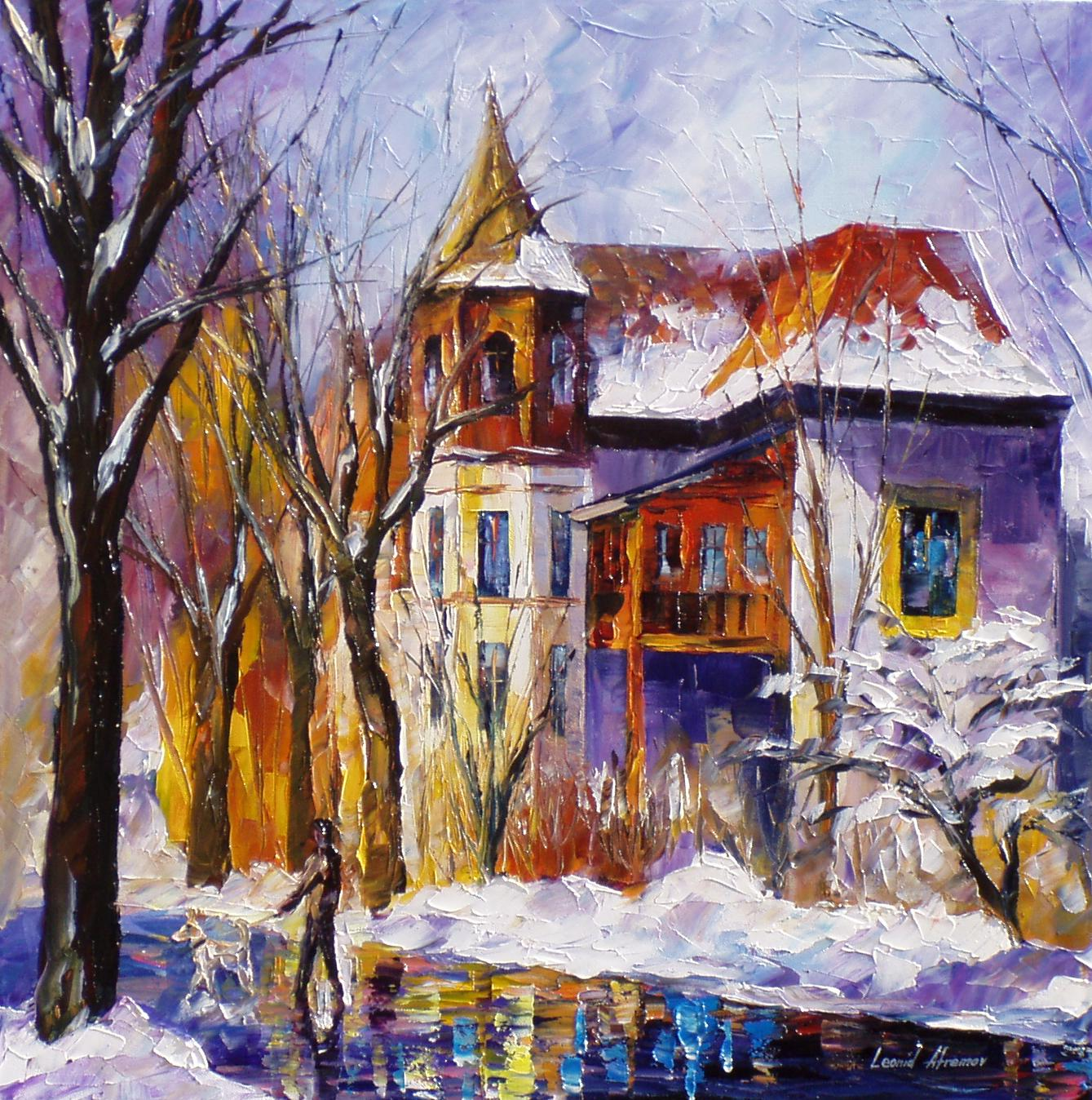 winter stroll palette knife oil painting on canvas by. Black Bedroom Furniture Sets. Home Design Ideas