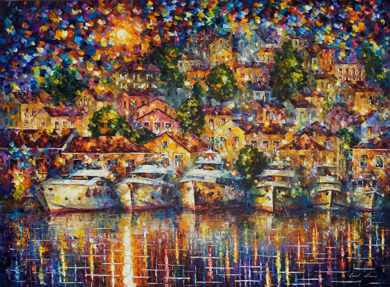 "ROARING HARBOR - Original Oil Painting On Canvas By Leonid Afremov - 57""X42"""