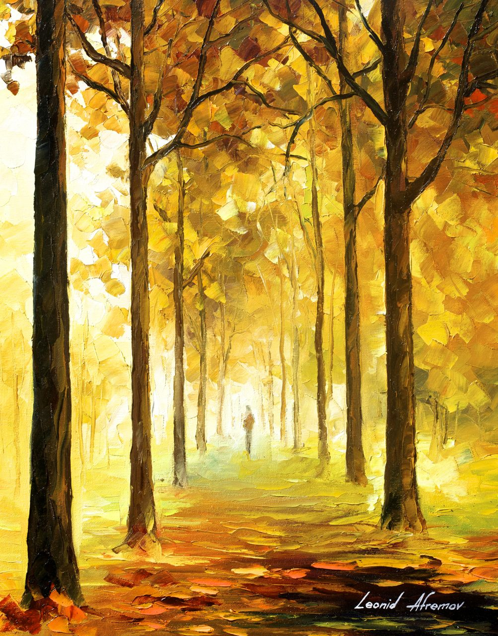 "YELLOW MOOD - Original Oil Painting On Canvas By Leonid Afremov - 16""x20"""