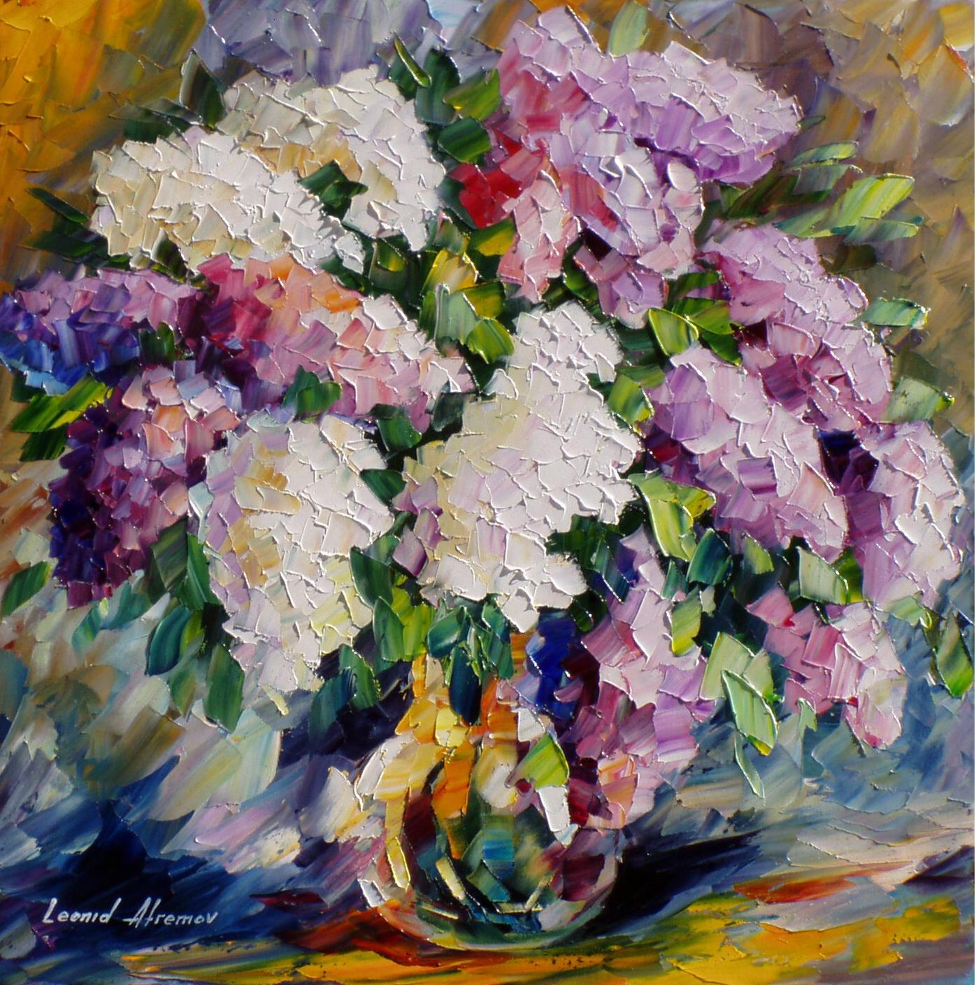 "CRYSTAL-LILAC— PALETTE KNIFE Oil Painting On Canvas By Leonid Afremov - Size 24""W x 24""H"