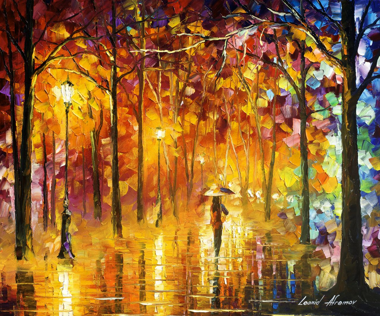 "SIGNALS OF LOVE - Original Oil Painting On Canvas By Leonid Afremov - 24""x20"""