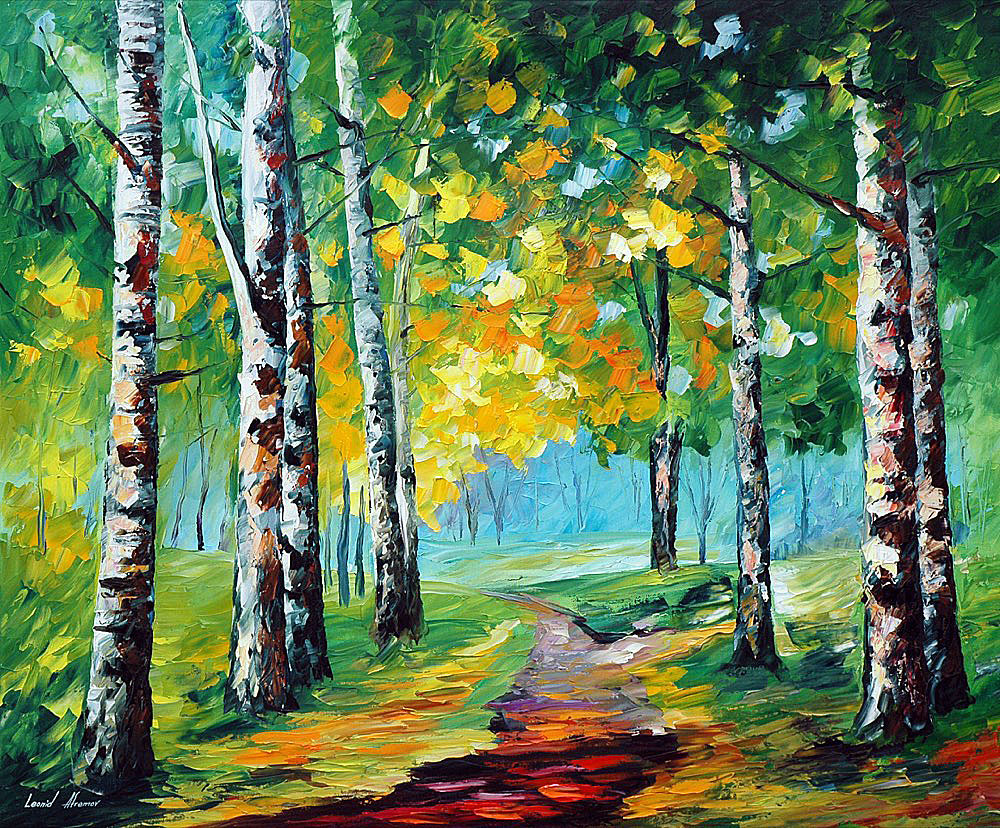 "BIRCH GROVE — PALETTE KNIFE Oil Painting On Canvas By Leonid Afremov - Size 24""x30"" (60cm x 75cm) OFFER"