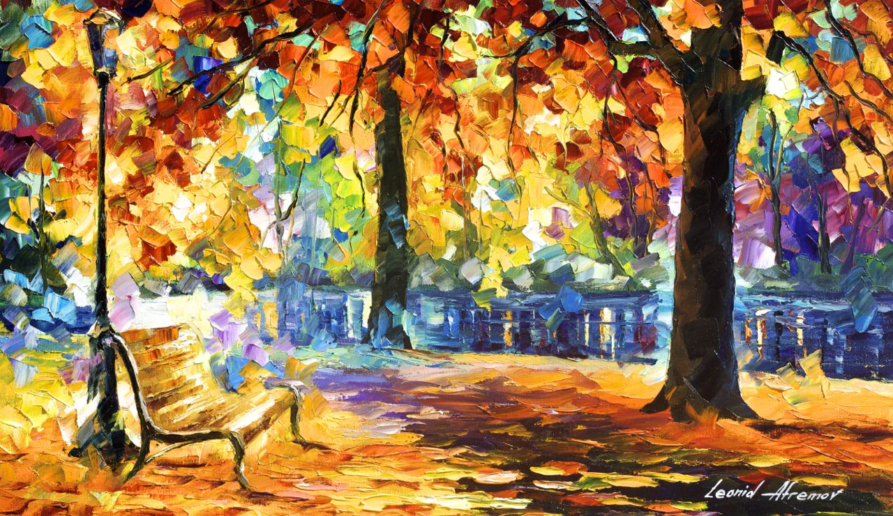 "THE ROAD TO HAPPINESS - Original Oil Painting On Canvas By Leonid Afremov - 25""x15"""