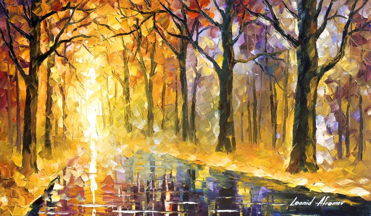 "VIBRATIONS THAT NEVER END - Original Oil Painting On Canvas By Leonid Afremov - 25""x15"""