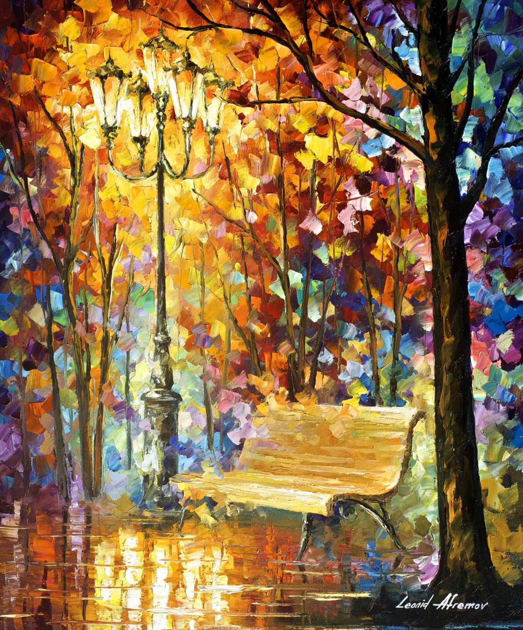 "LOST BENCH - Original Oil Painting On Canvas By Leonid Afremov - 20""X24"""