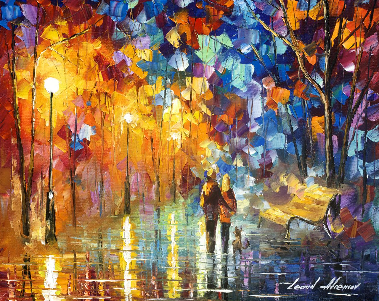 "THE TRUTH OF TOGETHERNESS - Original Oil Painting On Canvas By Leonid Afremov - 20""X16"""