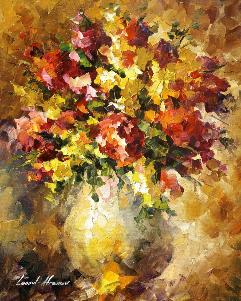 "FLOWERS OF ILLUSIONS - Original Oil Painting On Canvas By Leonid Afremov - 16""x20"""