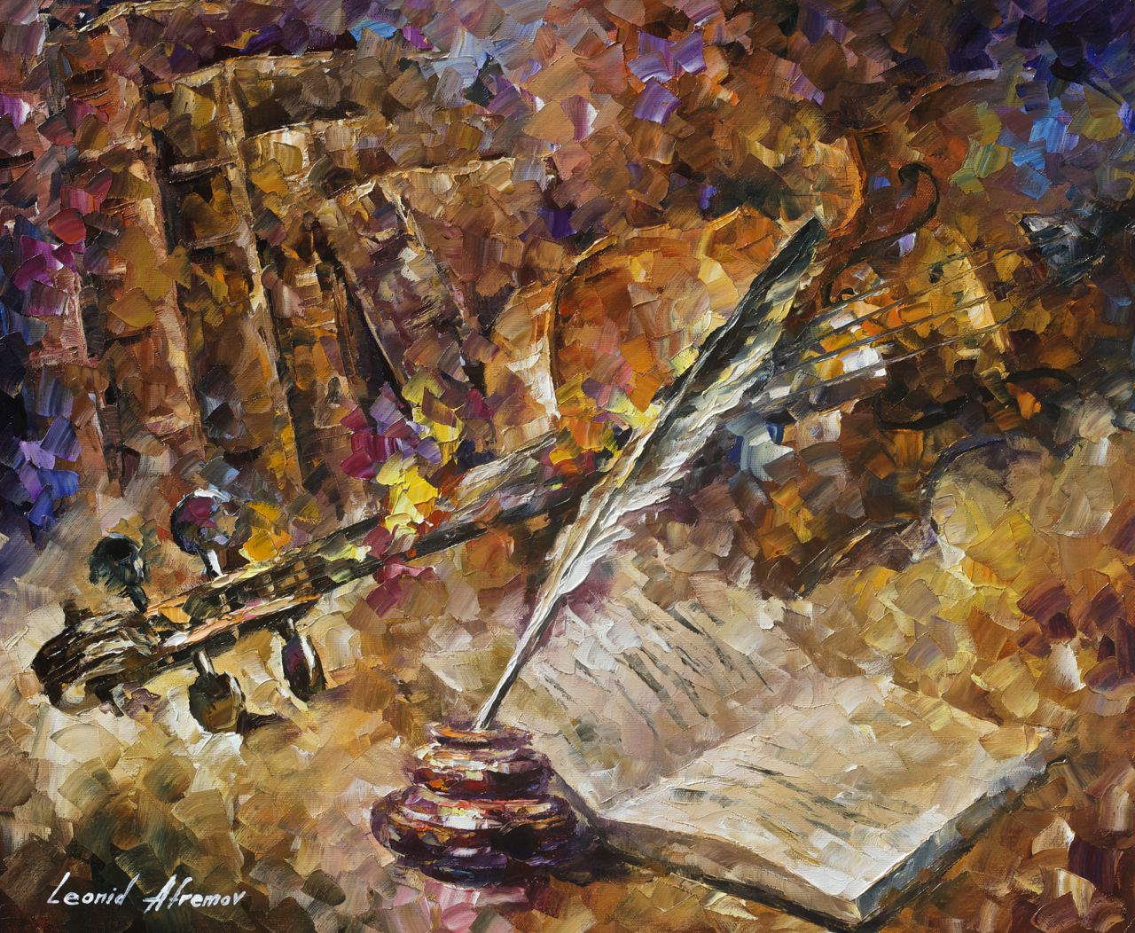 "WRITTEN MUSIC - Original Oil Painting On Canvas By Leonid Afremov - 24""X20"" (60cm x 50cm)"