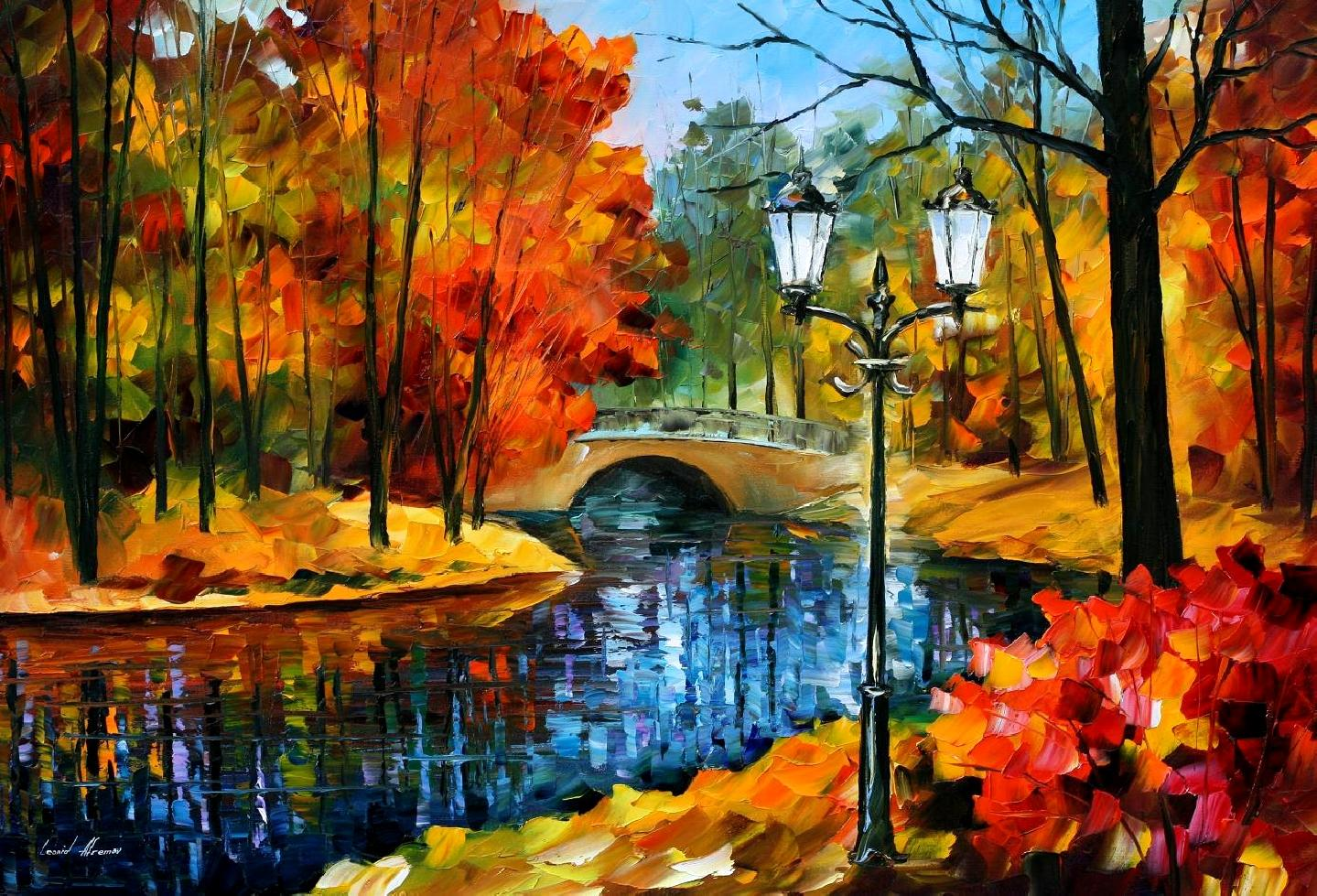 SUBLIME PARK — PALETTE KNIFE Oil Painting On Canvas By Leonid Afremov -  Size 40