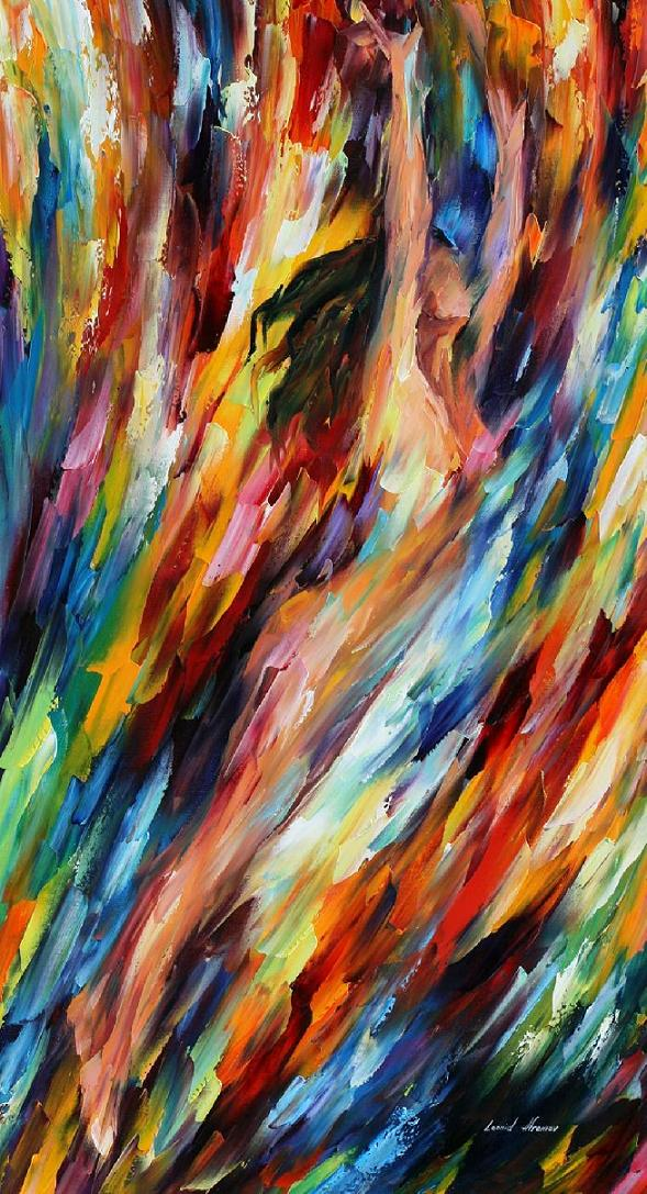 RIDING WITH THE WAVE — PALETTE KNIFE Oil Painting On Canvas By Leonid Afremov - Size 40x72""