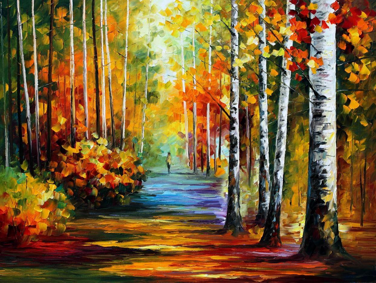 "FOREST ROAD — PALETTE KNIFE Oil Painting On Canvas By Leonid Afremov - Size 40""x30"""