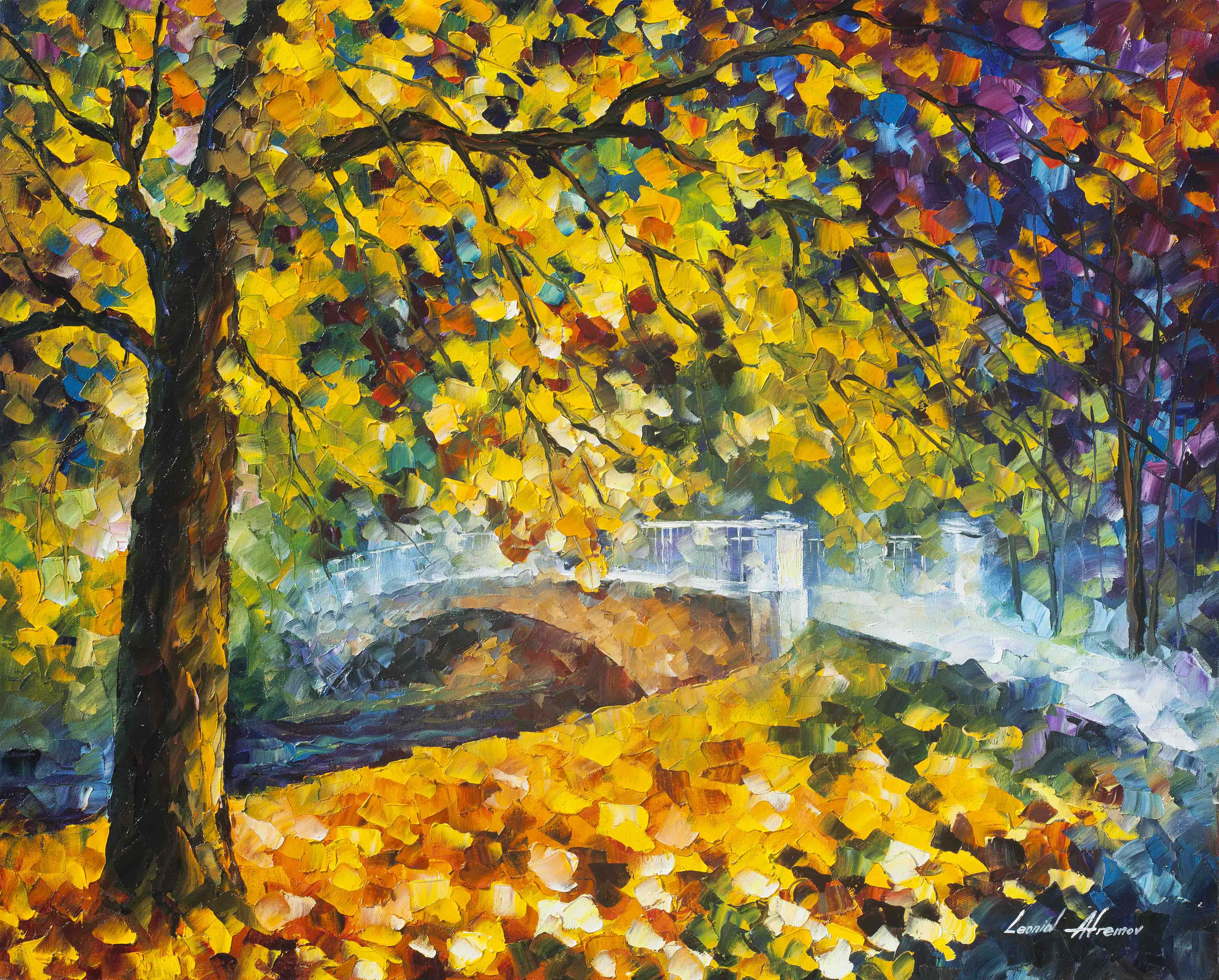 The Autumn Nears Palette Knife Oil Painting On Canvas By