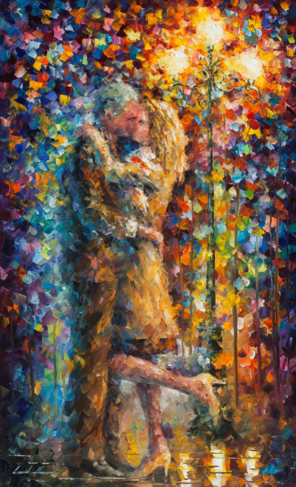 "LOVE THAT NEVER ENDS - Original Oil Painting On Canvas By Leonid Afremov - 24""X40""  (60cm x 100cm)"
