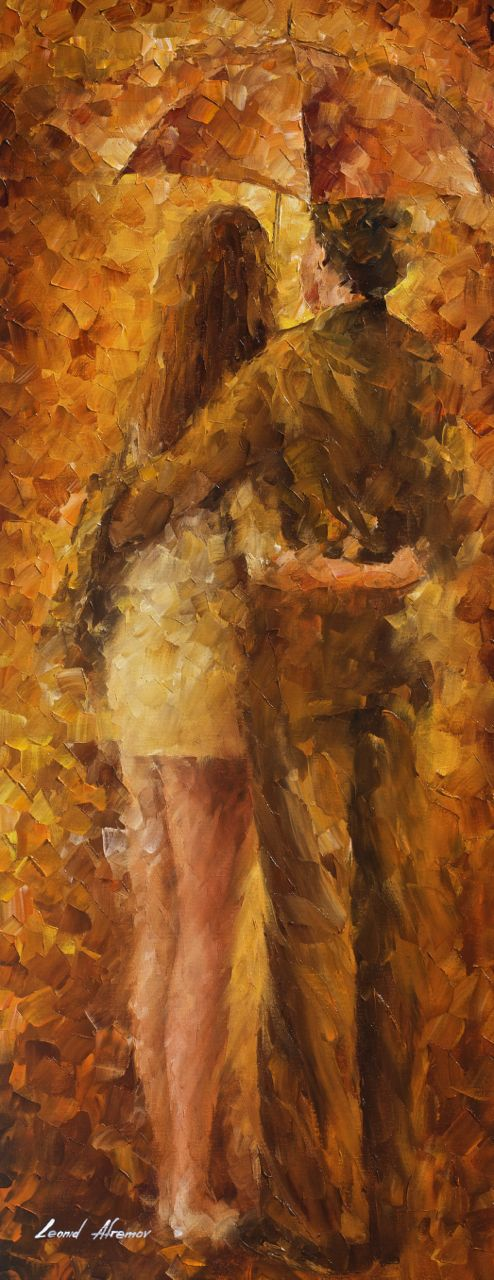 "HUG UNDER THE RAIN — Original Oil Painting On Canvas By Leonid Afremov - Size 16""Wx40""H"