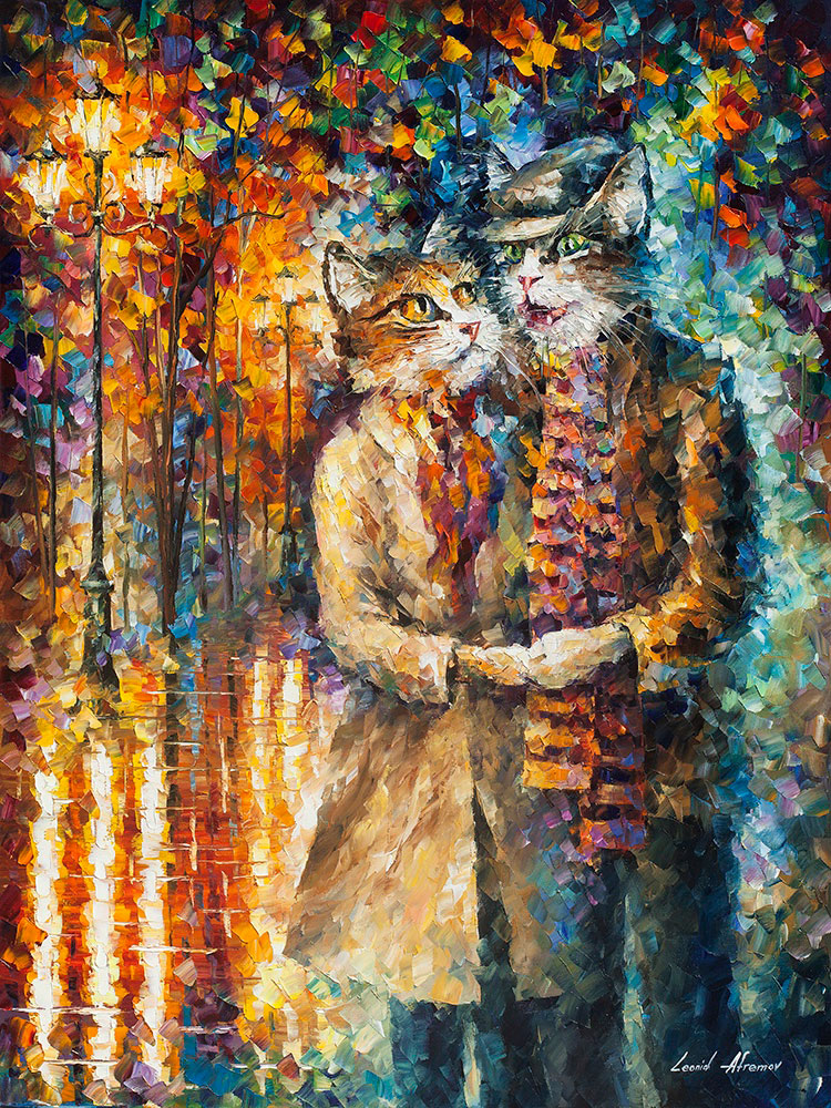 "CAT COUPLE - Original Oil Painting On Canvas By Leonid Afremov - 30""X40"" (75cm x 100cm)"