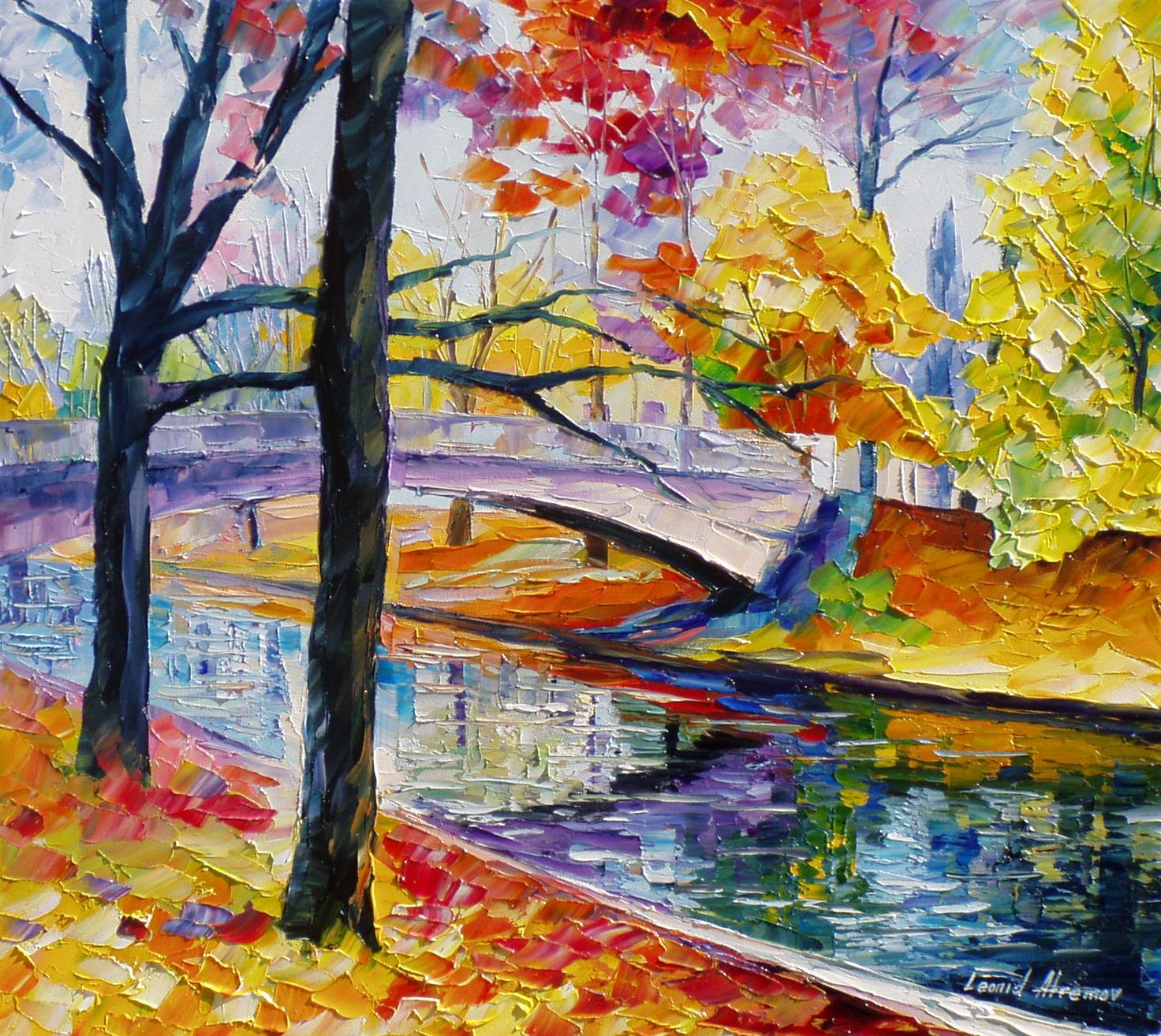 "COLOR-BRIDGE— Original  KNIFE Oil Painting On Canvas By Leonid Afremov - Size 24""W x 24""H"