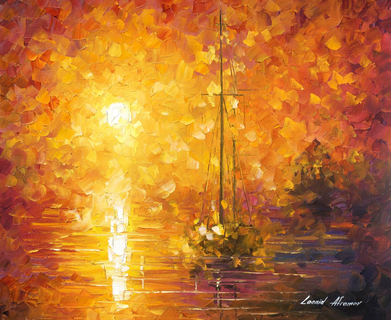 Orange fog 3 recreation oil painting on canvas by leonid for Mural on canvas