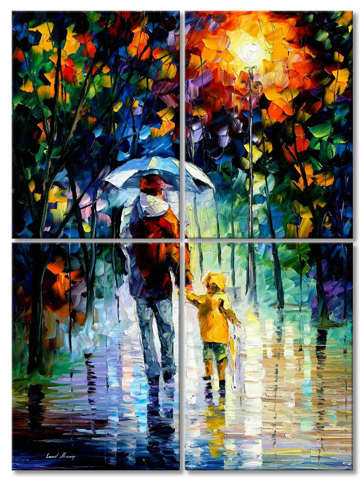 "Rainy walk with daddy — SET OF 4 PAINTINGS PALETTE KNIFE Oil Painting On Canvas By Leonid Afremov - Size 60""x80"""