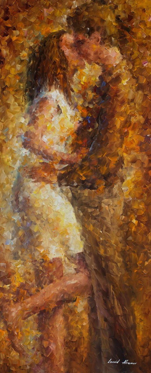 "LAST KISS 2- Palette Knife Oil Painting On Canvas By Leonid Afremov - 16""X40"" (promo)"