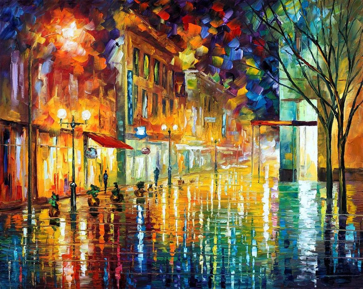 "SCENT OF RAIN — PALETTE KNIFE Oil Painting On Canvas By Leonid Afremov - Size 40""X30""(100cm x 75cm)"
