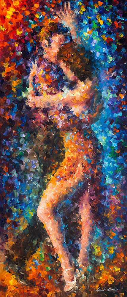 "DANCING TOGETHER - Original Oil Painting On Canvas By Leonid Afremov - 24""X57"" (60cm x 143cm)"