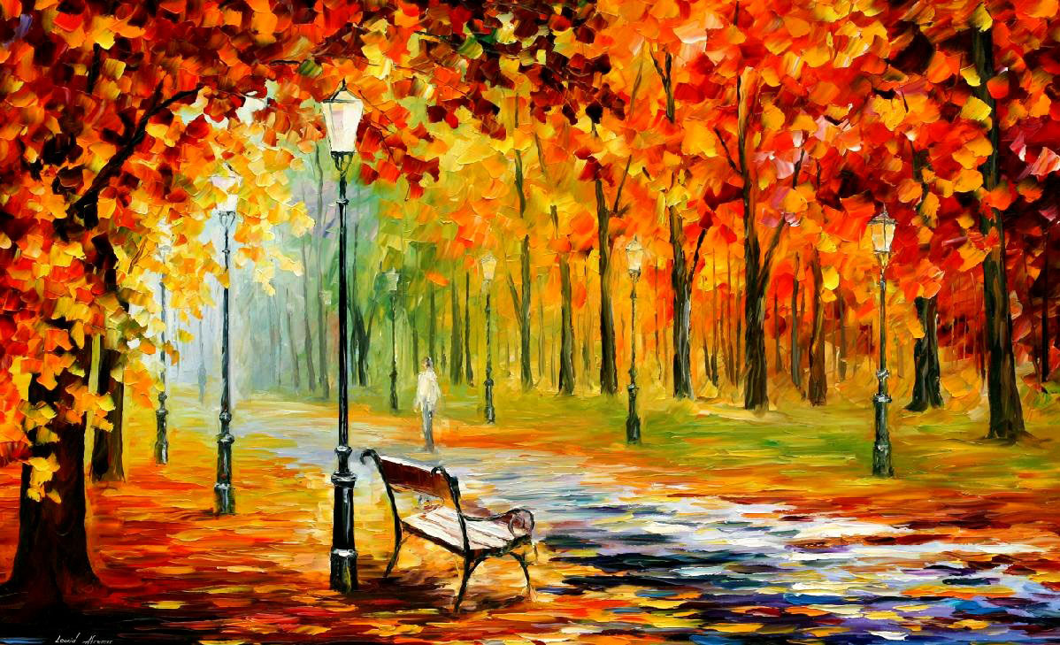 "SILENCE OF THE FALL —Original  Oil Painting On Canvas By Leonid Afremov - Size 40""x24"""