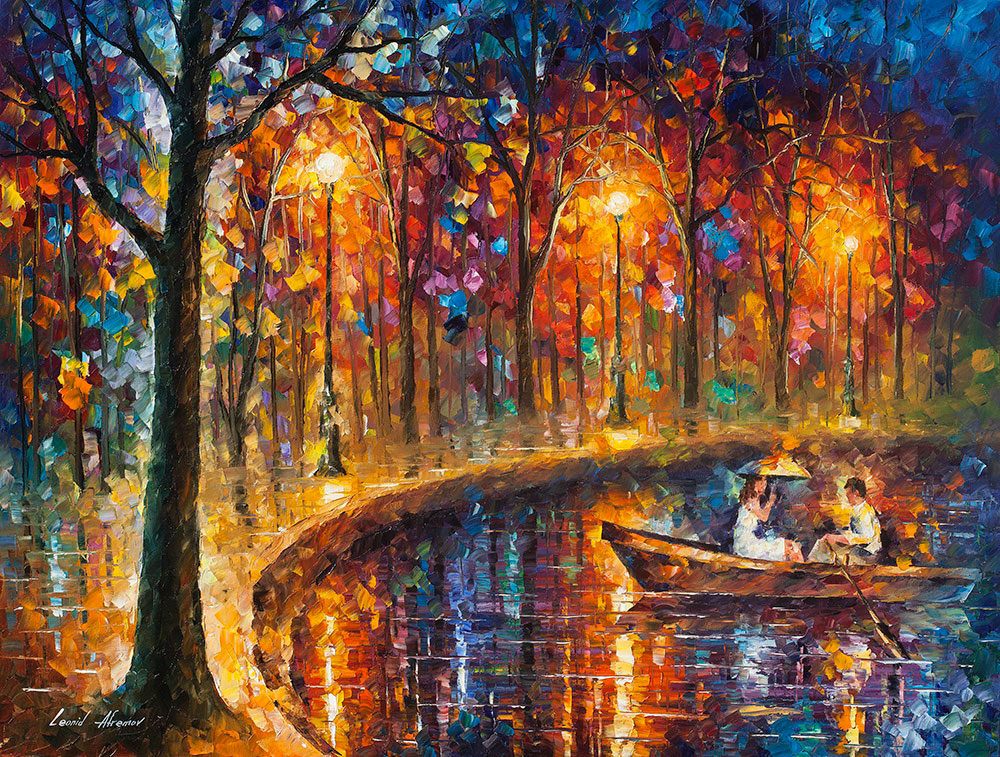Our Little Boat Palette Knife Oil Painting On Canvas By