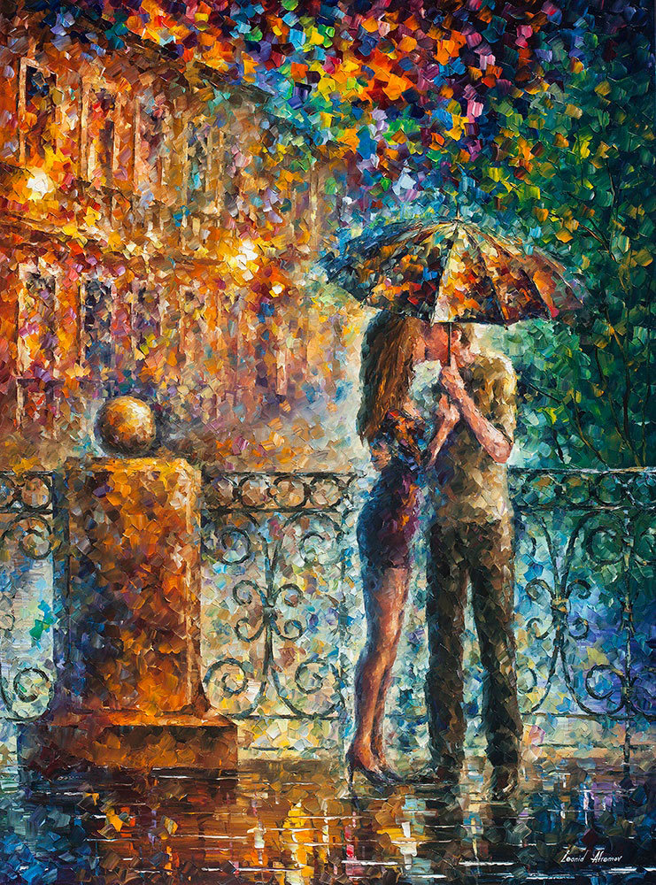 "KISS UNDER UMBRELLA - Original Oil Painting On Canvas By Leonid Afremov - 42""X57"""