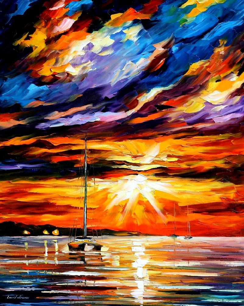 "SUNSET MELODY - Original Oil Painting on Canvas by Leonid Afremov  - Size 24""x30"" (60cm x 75cm)"