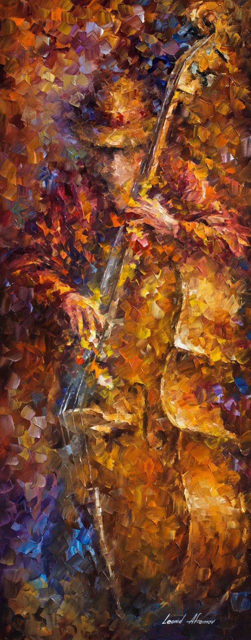 "THE SOUNDS OF BASS - Original Oil Painting On Canvas By Leonid Afremov - 16""X40"""