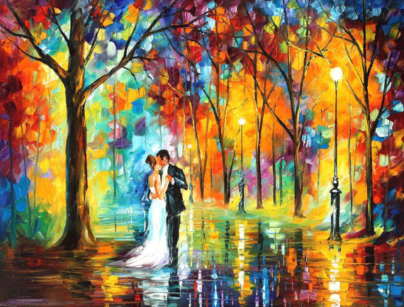 "RAINY WEDDING — PALETTE KNIFE Oil Painting On Canvas By Leonid Afremov - Size 20""x16"""