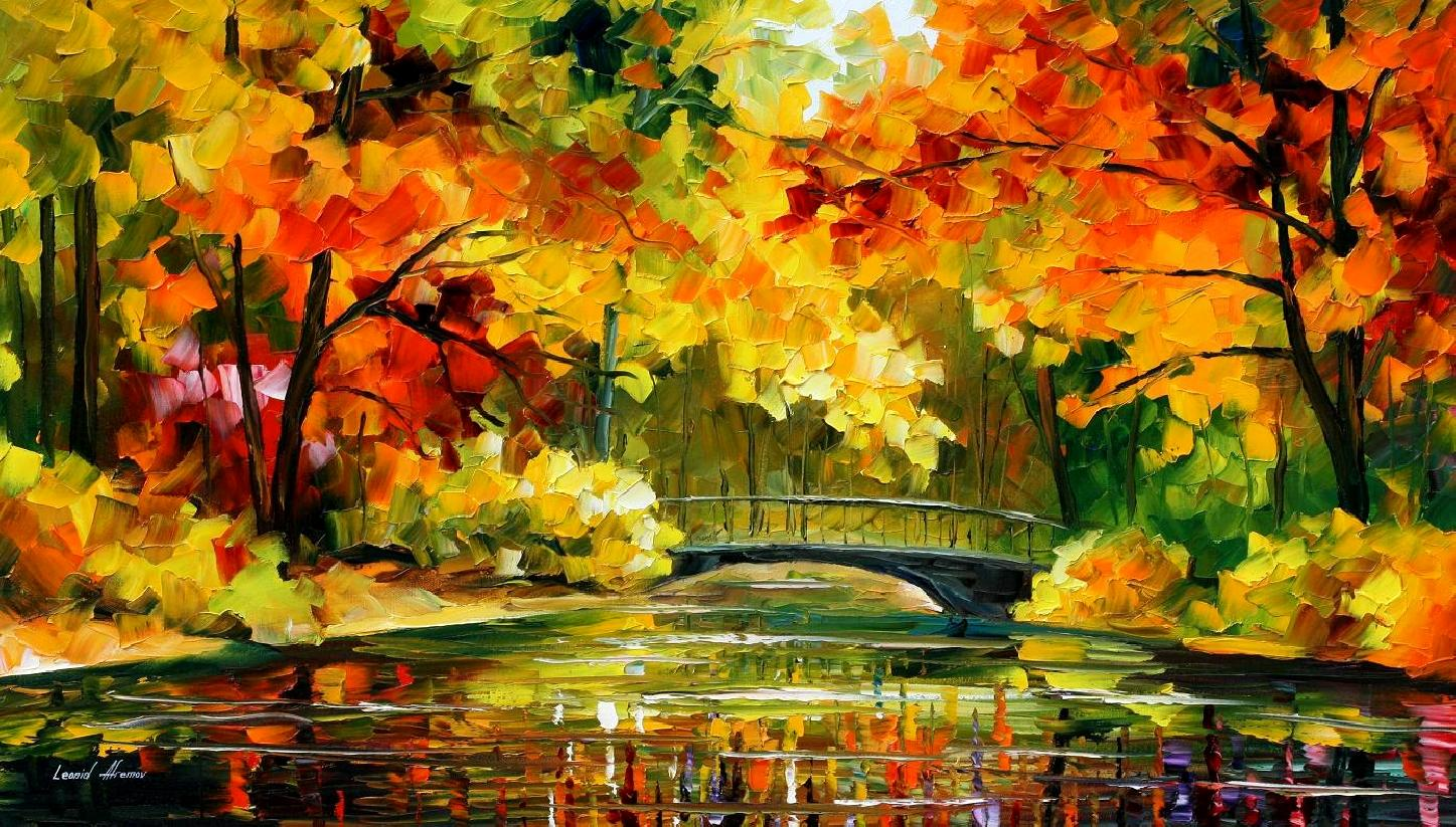 "LITTLE BRIDGE 1 — PALETTE KNIFE Oil Painting On Canvas By Leonid Afremov - Size 48""X26,6"" (120cmX68cm)"