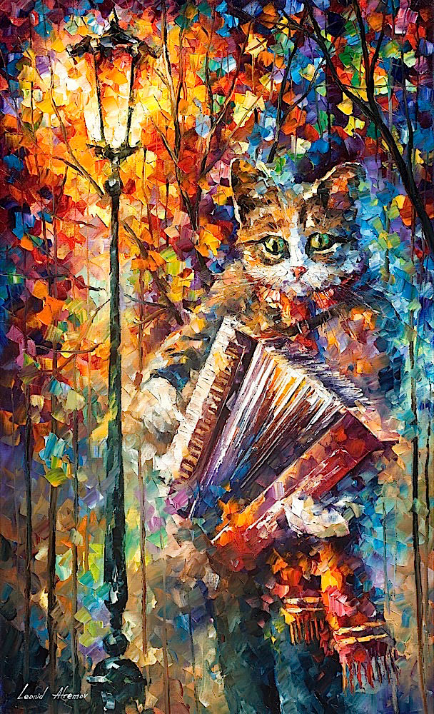 "ACCORDION CAT - Original Oil Painting On Canvas By Leonid Afremov - 24""X40"""