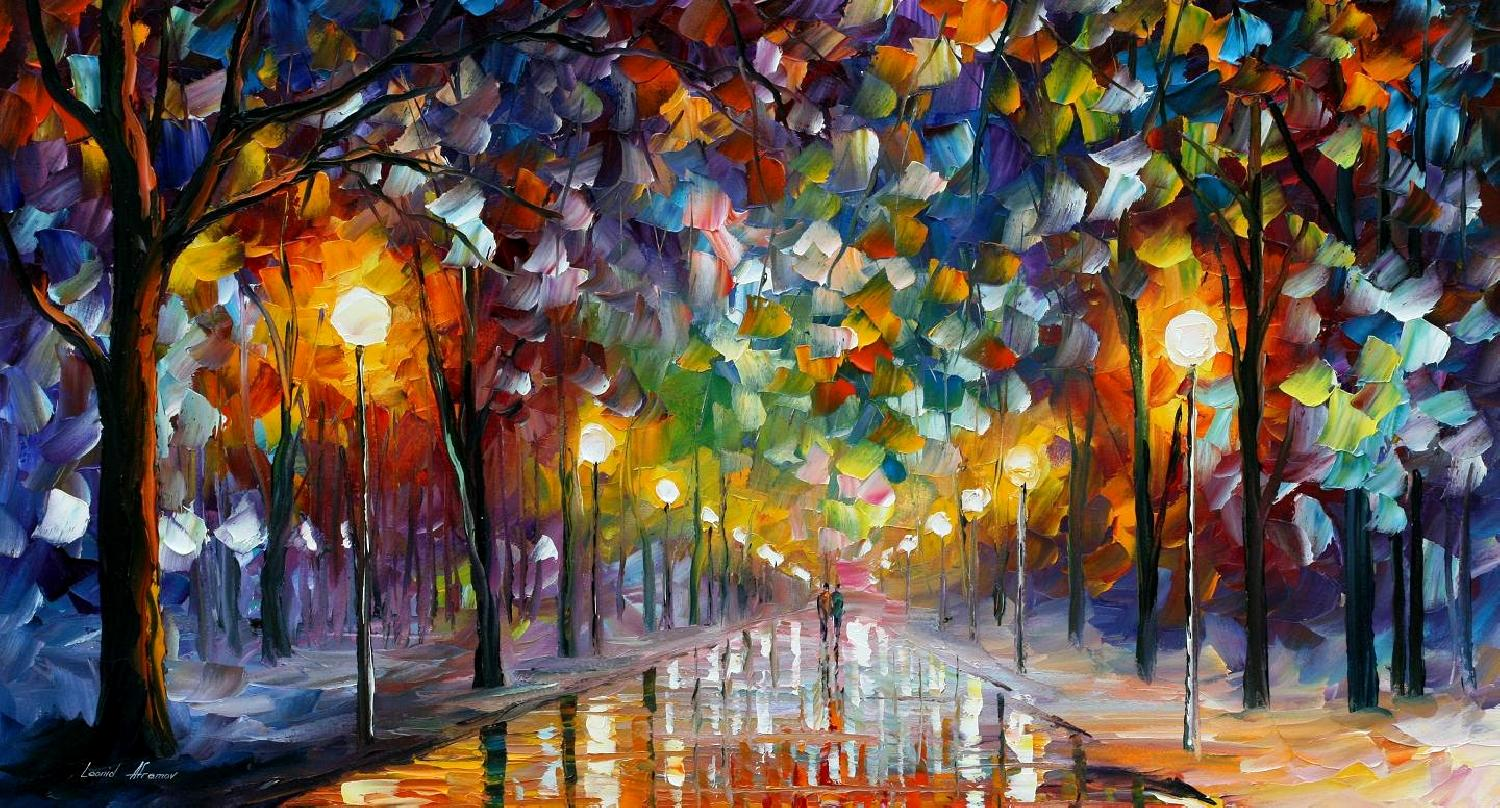 FIRST SNOW — PALETTE KNIFE Oil Painting On Canvas By Leonid Afremov - Size 16x20