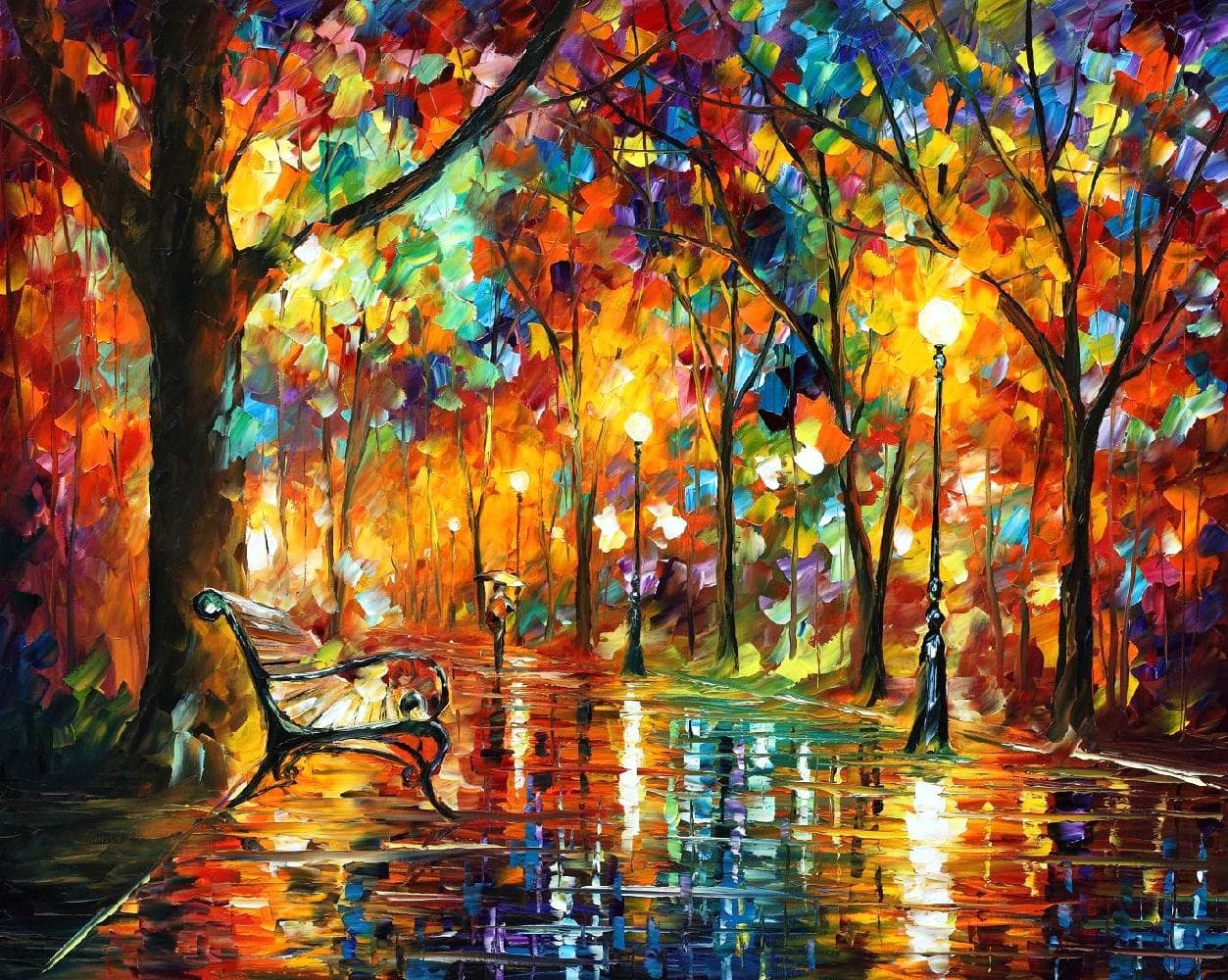 "COLORFUL NIGHT — PALETTE KNIFE Oil Painting On Canvas By Leonid Afremov - Size 40""X30"" (offer)"
