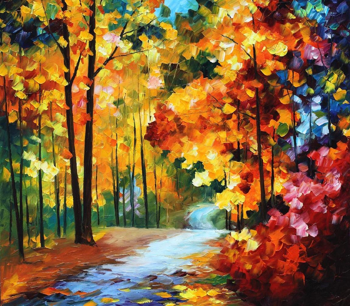 "RED FALL — Oil Painting On Canvas By Leonid Afremov - Size 20""X20"""