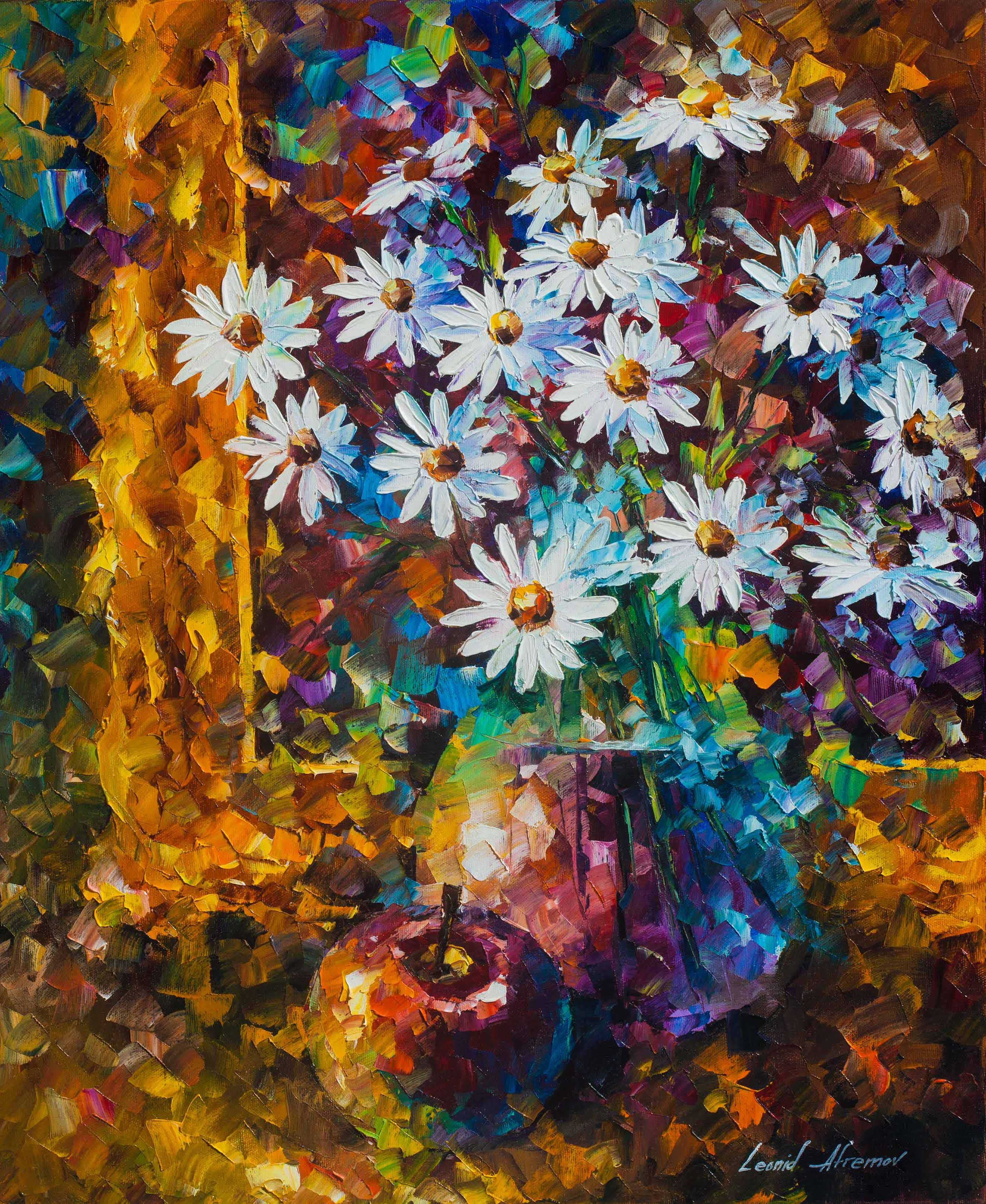 White Flowers Palette Knife Oil Painting Wall Art Canvas By