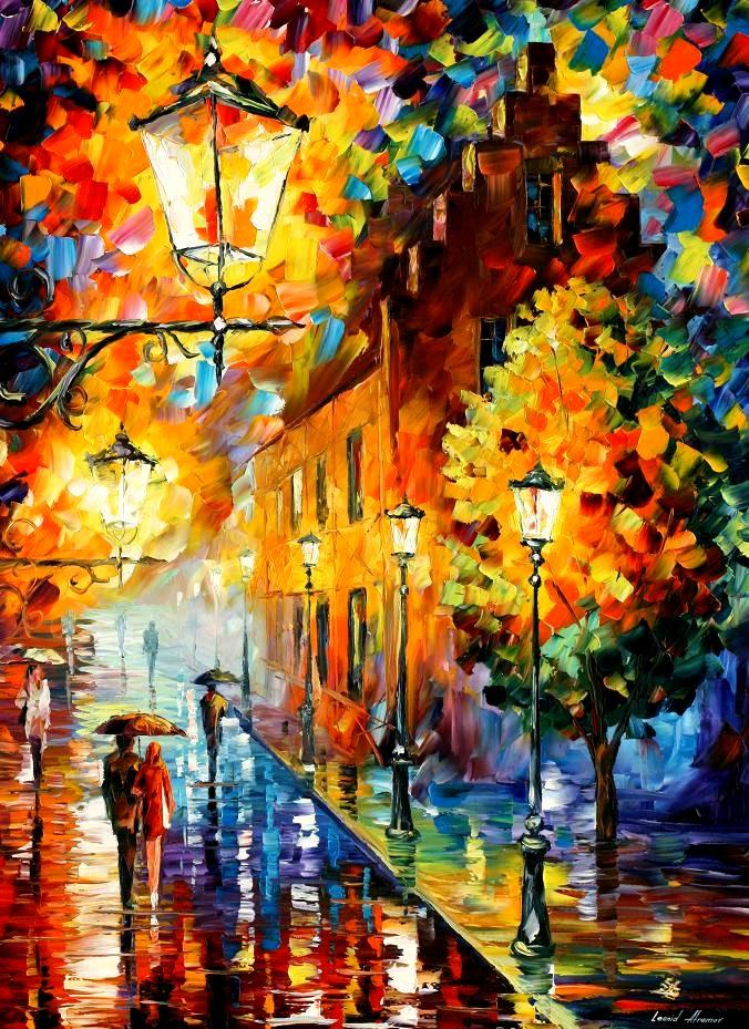 LIGHTS IN THE NIGHT — PALETTE KNIFE Oil Painting On Canvas By Leonid Afremov -120cmx180cm